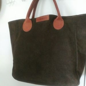 Forest-Green Suede Shopper Tote Bag